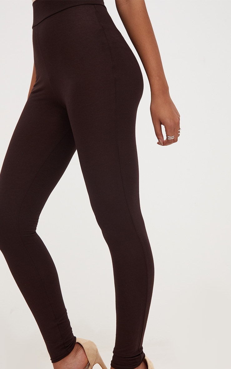 Chocolate Brown High Waisted Jersey Leggings 5