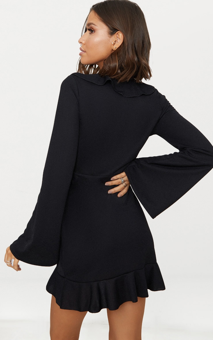 Black Frill Detail Flare Sleeve Wrap Dress 2