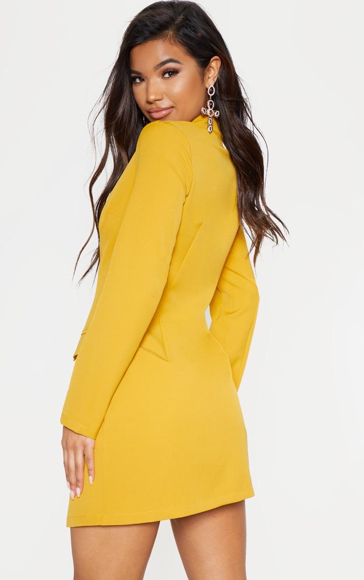 Mustard Tie Detail Blazer Dress 3