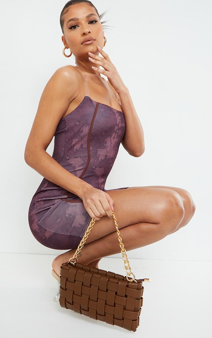 Brown Tie Dye Print Binded Detail Clear Strap Bodycon Dress 3