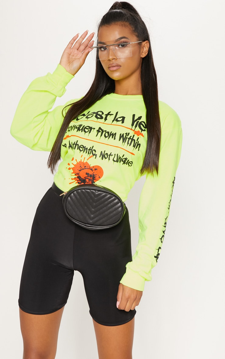 Yellow Cest La Vie Slogan Long Sleeve Top 1