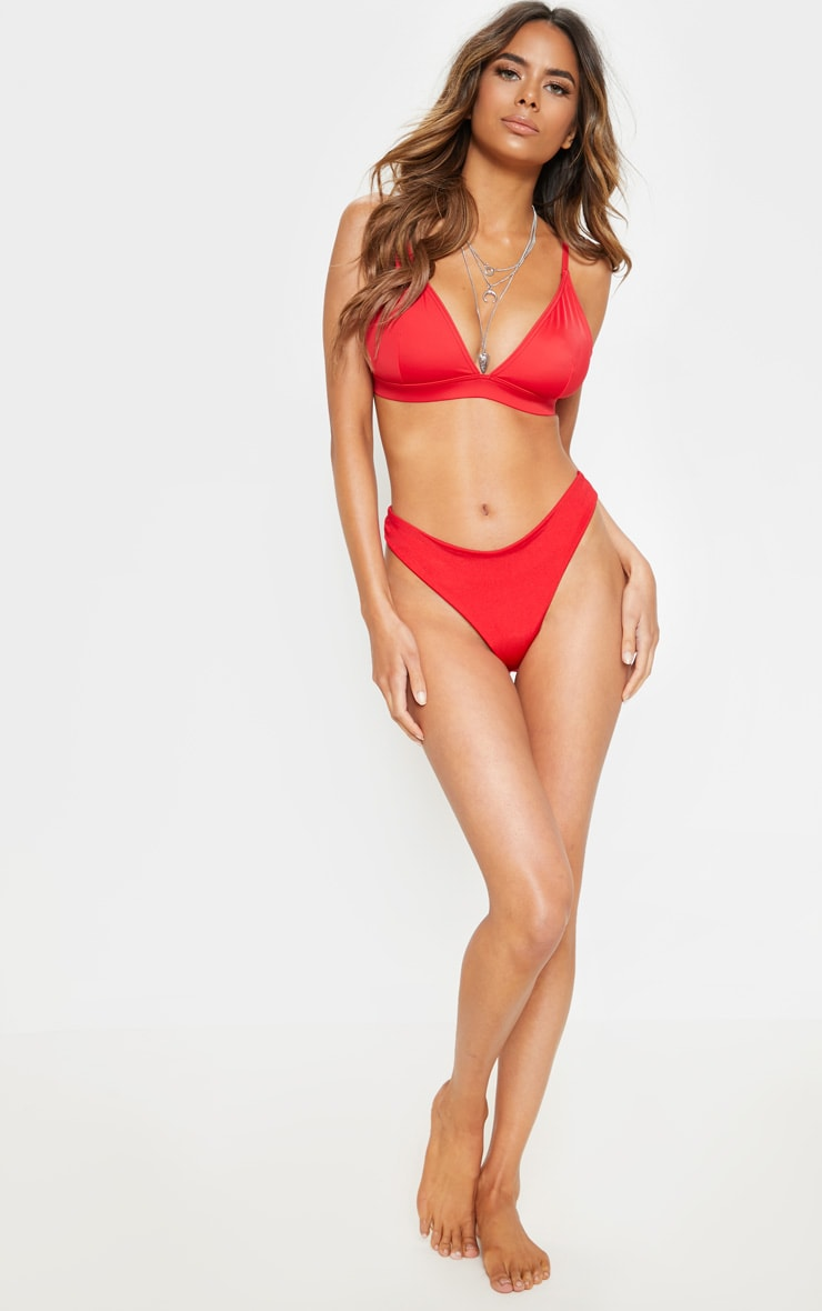 Red Mix And Match Fuller Bust Triangle Bikini Top 4