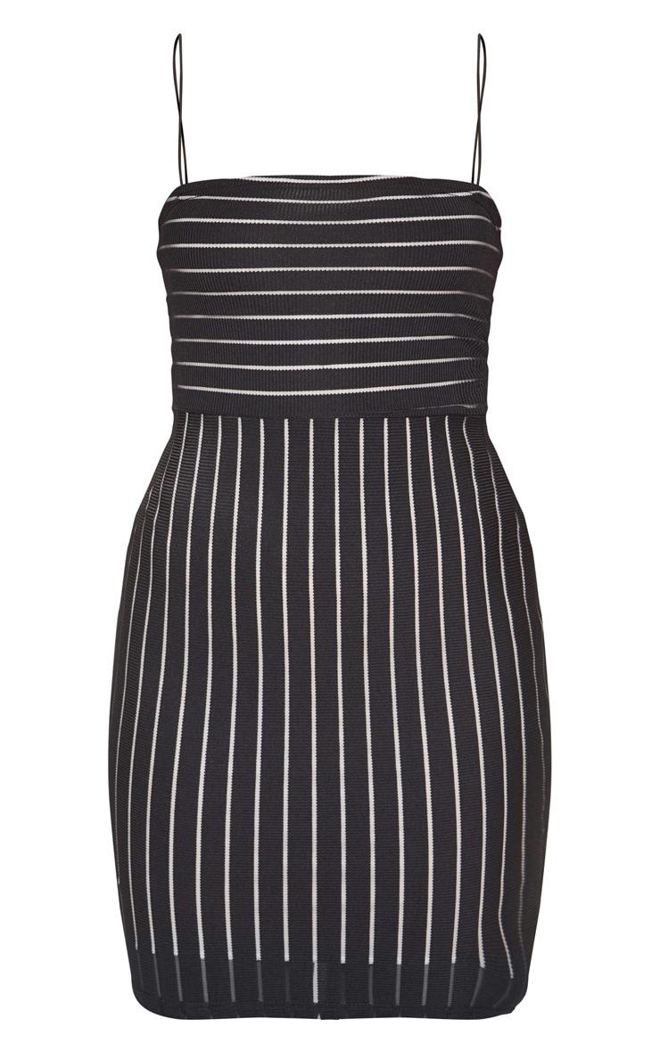 Black Striped Mesh Strappy Bodycon Dress 3