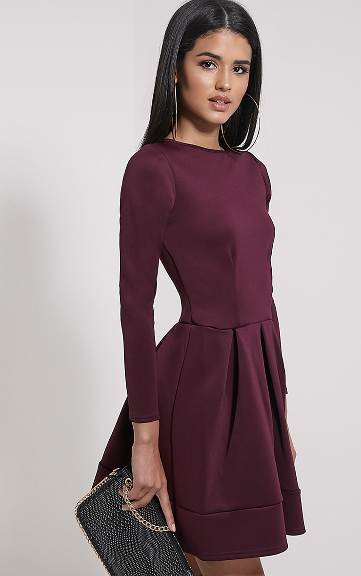 Grace Plum Box Pleat Long Sleeve Skater Dress 4