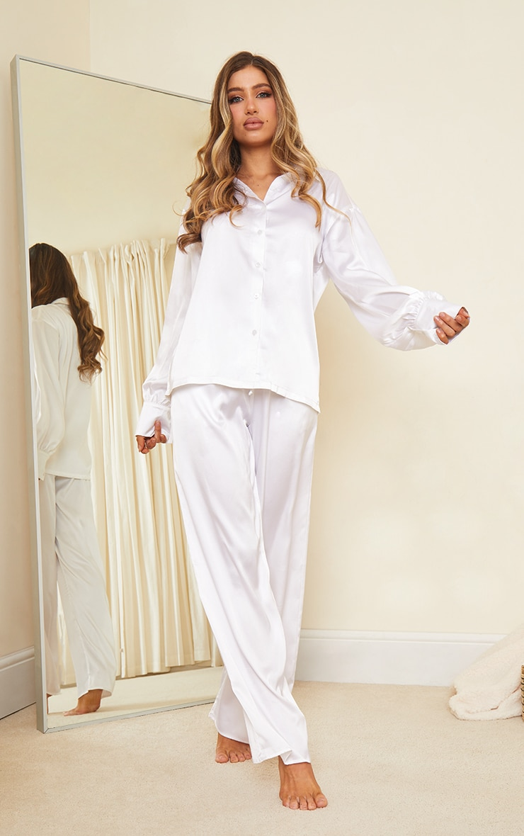 Ivory Oversized Long Satin Pj Set 3