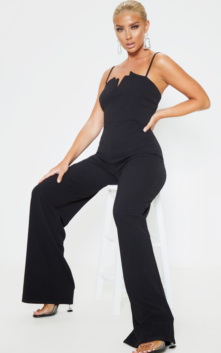 Black Strappy Pleated Plunge Jumpsuit 4