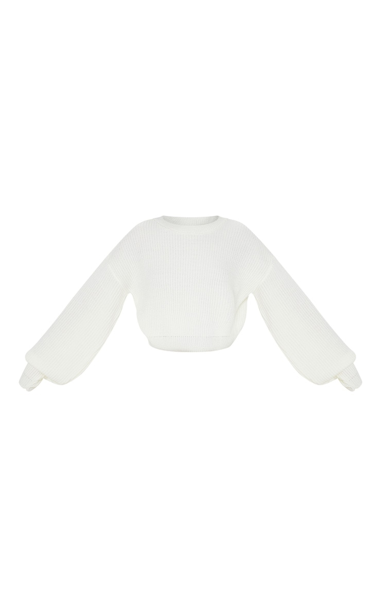Cream Wide Sleeve Knitted Sweater  4