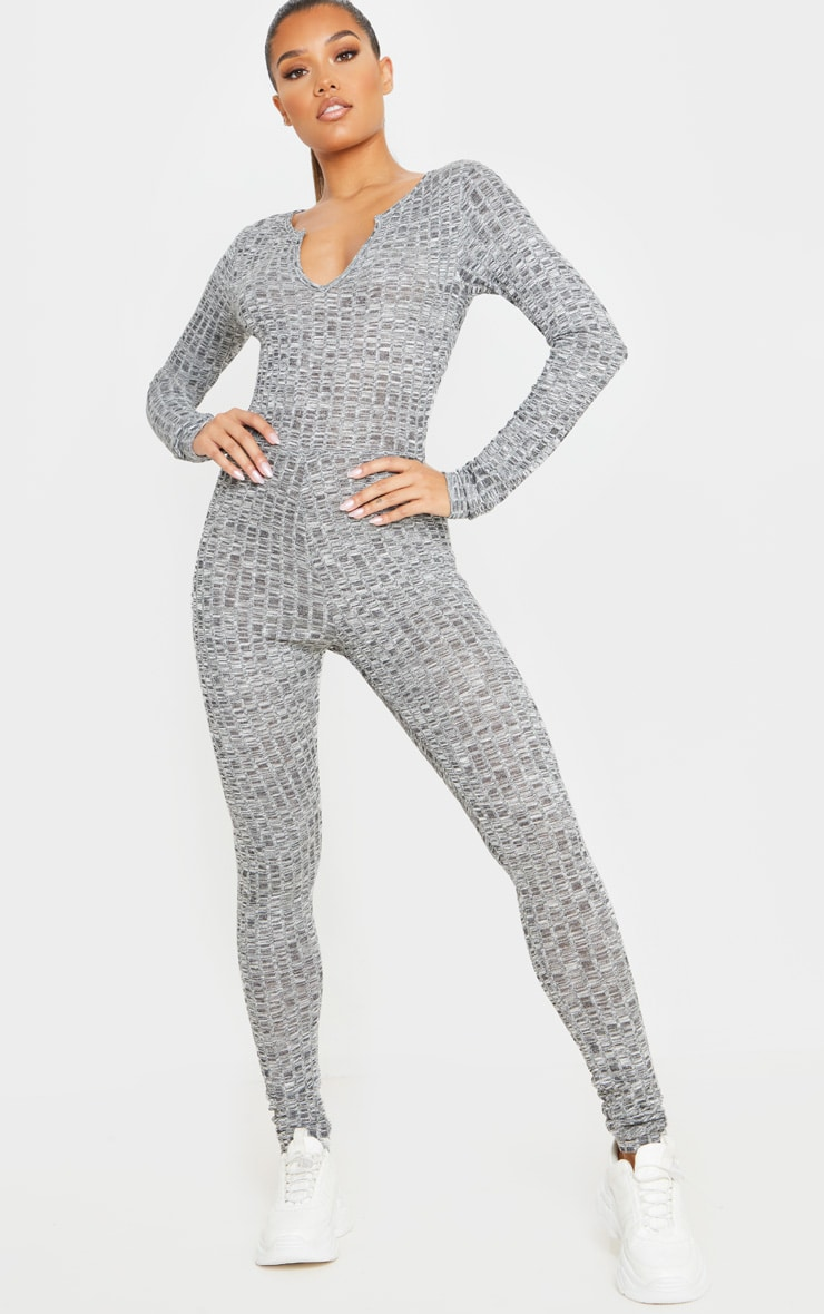 Dark Grey Open Neck Fitted Jumpsuit 1