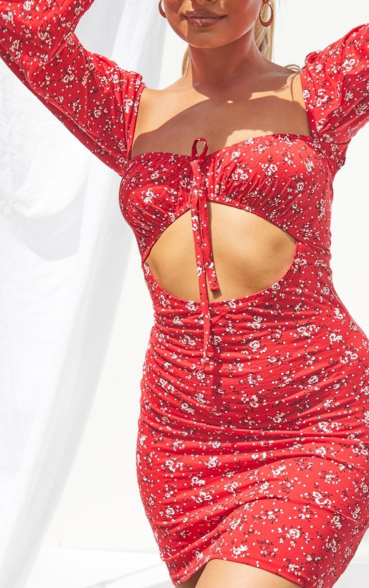 Petite Red Bardot Ditsy Floral Cut Out Mini Dress 4