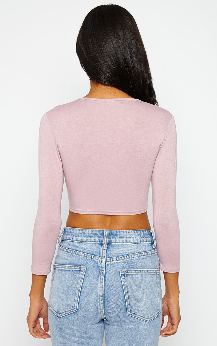 Basic Mauve Cross Over Jersey Crop Top 2