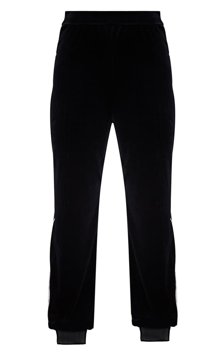 Black Velour Piping  Detail Jogger  3