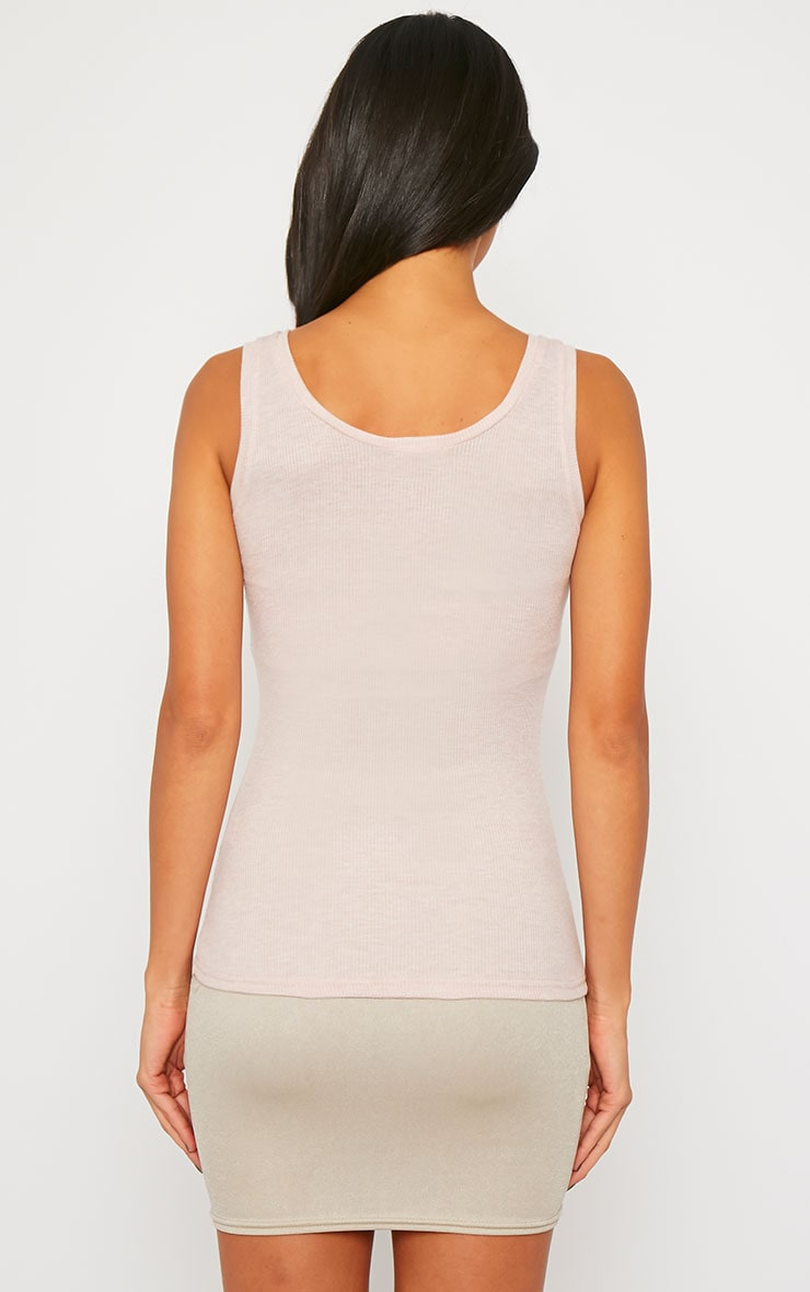 Basic Nude Zip front Ribbed Jersey Vest 2