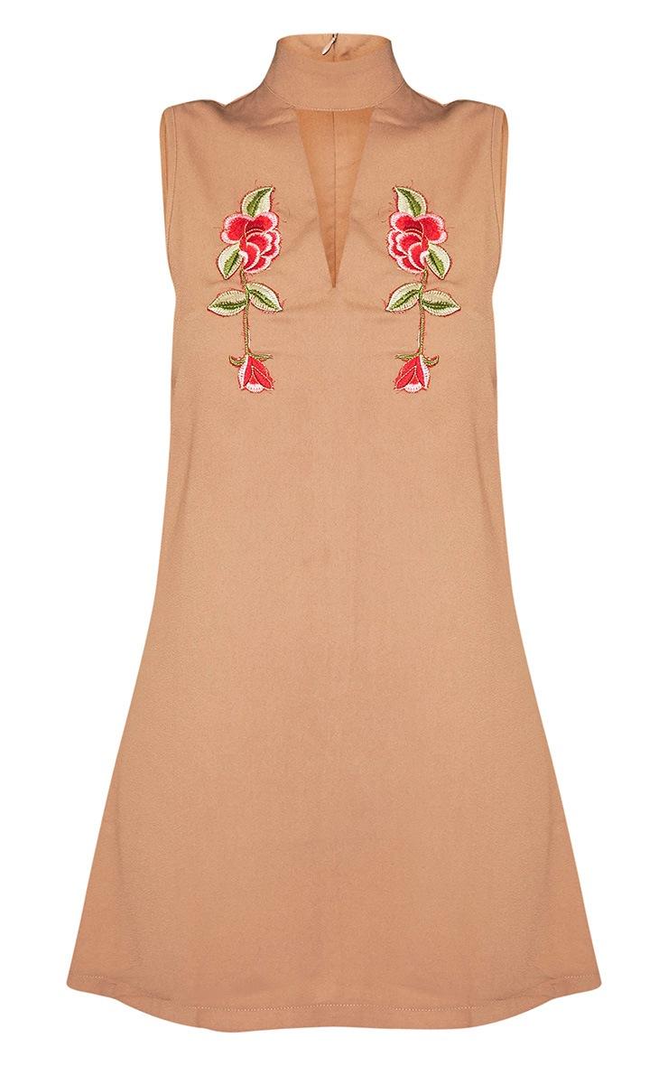 Taina Camel Choker Detail Embroidered Shift Dress 3
