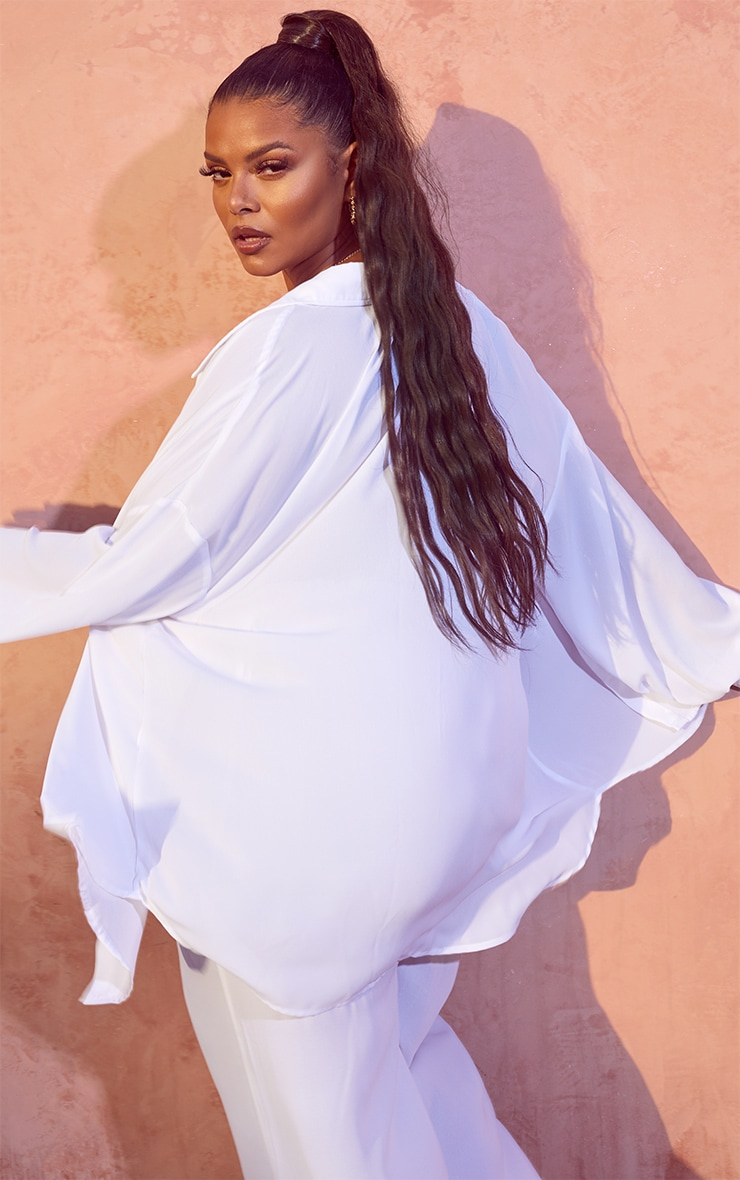 Plus White Oversized Beach Shirt 2