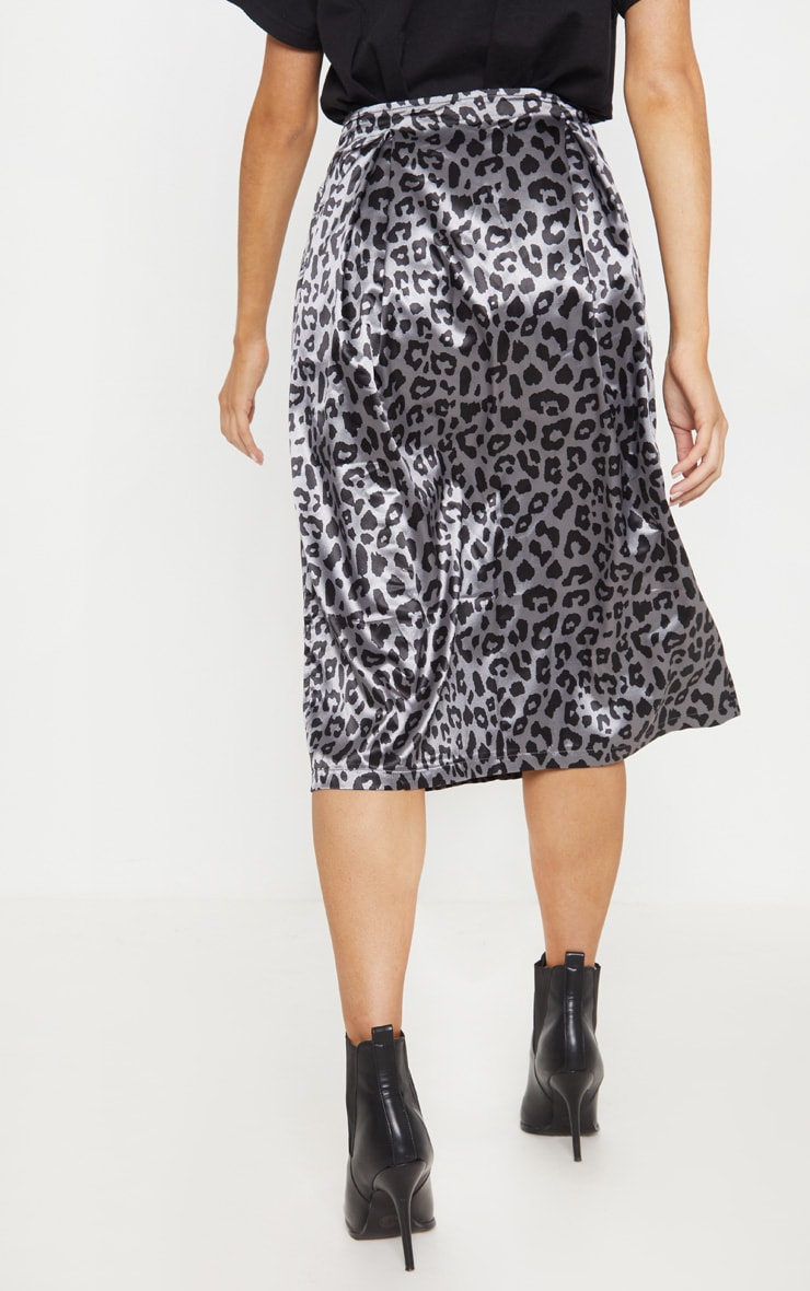 Charcoal Leopard Print Pleat Front Woven Midi Skirt 4