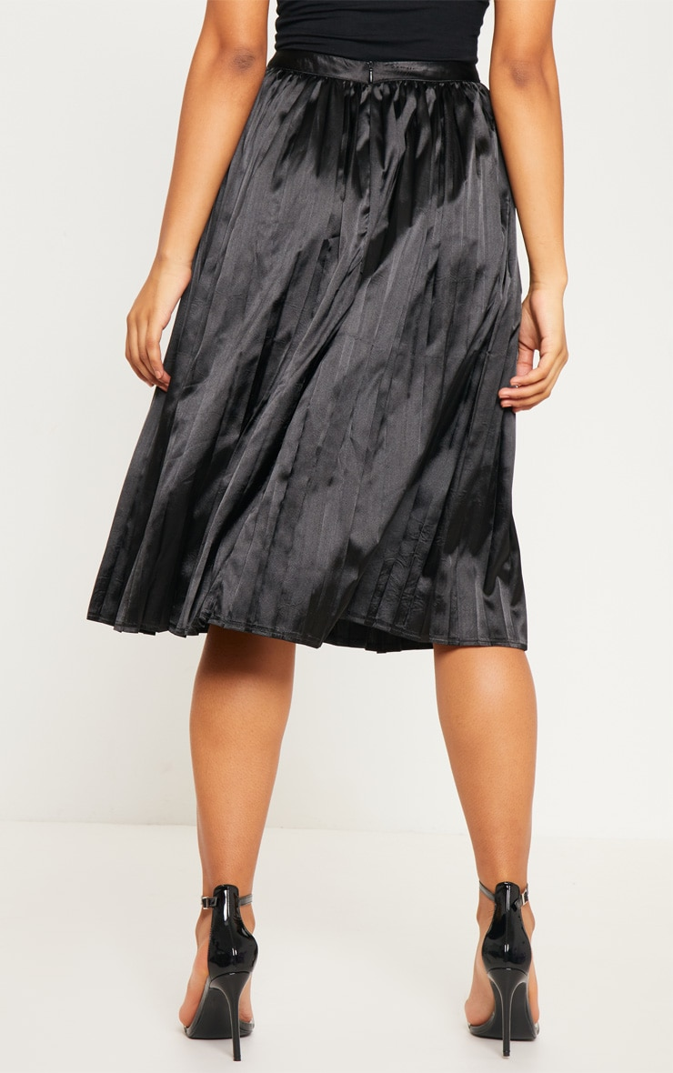 Tall Black Satin Pleated Midi Skirt  4