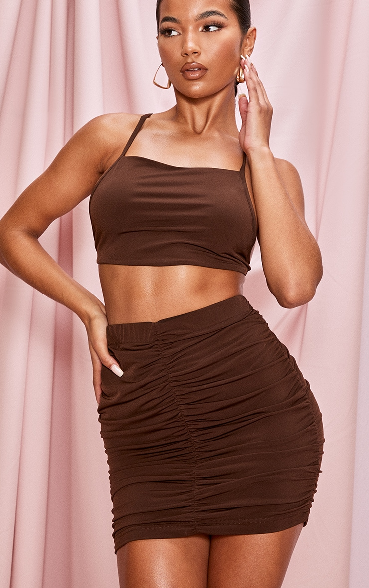 Chocolate Brown Slinky Double Ruched Seam Mini Skirt 4