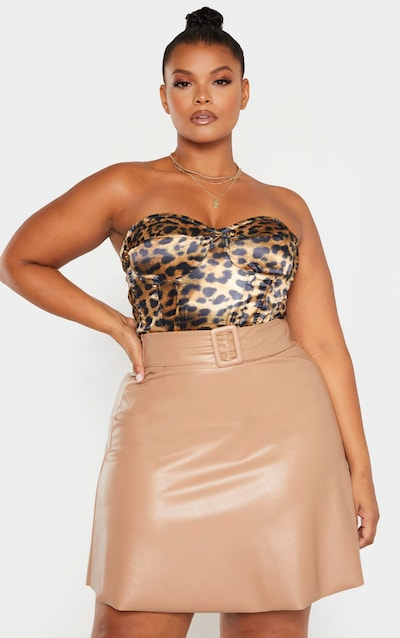 Plus Taupe Faux Leather Belted Skater Skirt