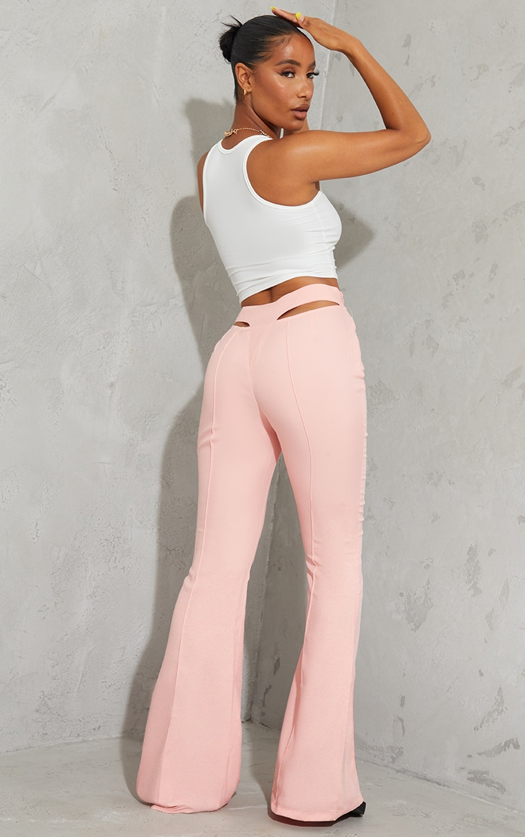 Pale Pink Woven Cut Out Detail Pintuck Flared Trousers 1