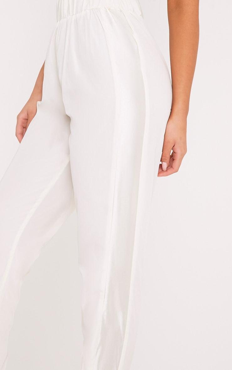 Tayla Cream Satin Stripe Cuff Trousers  5