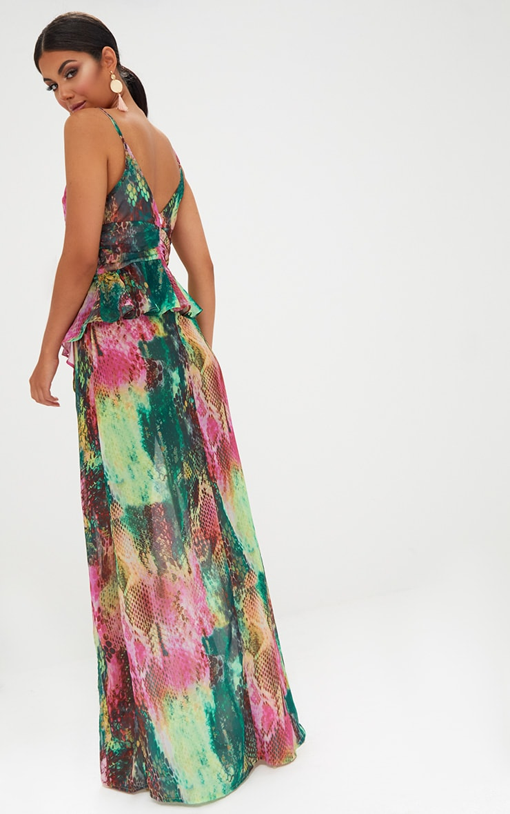 Pink Strappy Frill Detail Snake Print Maxi Dress 2