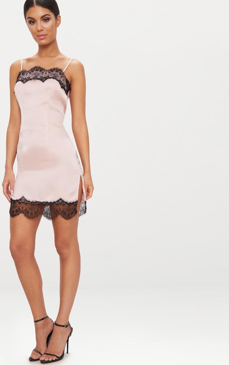 Nude Satin Lace Trim Split Detail Slip Dress 3