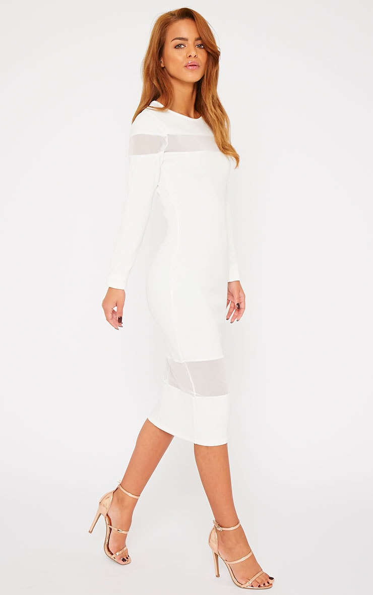 Justina White Mesh Insert Bodycon Midi Dress 3