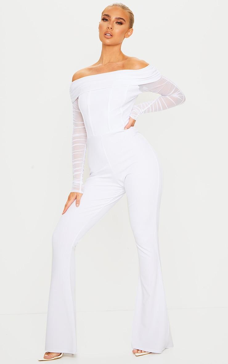 White Bardot Mesh Sleeve Flare Leg Jumpsuit 1