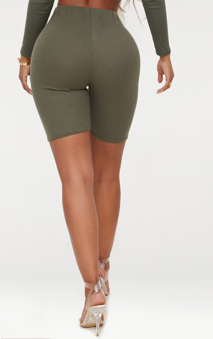 Shape Khaki Ribbed Cycling Shorts 4