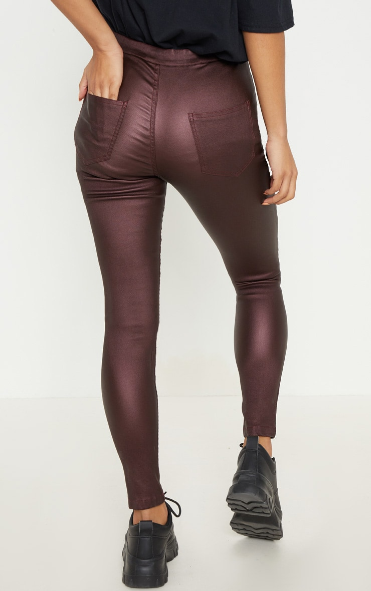 Burgundy Coated Denim Skinny Jeans  4
