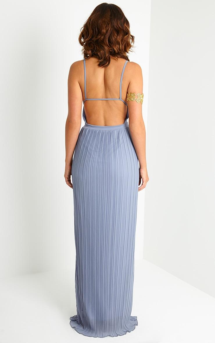 Hanna Grey Plunge Pleated Maxi Dress 2