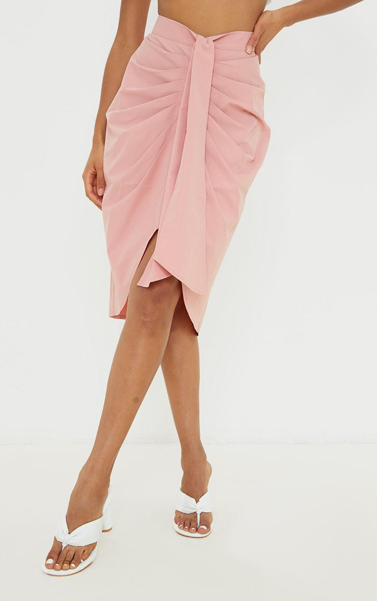 Dusty Pink Foldover Button Through Midi Skirt 2