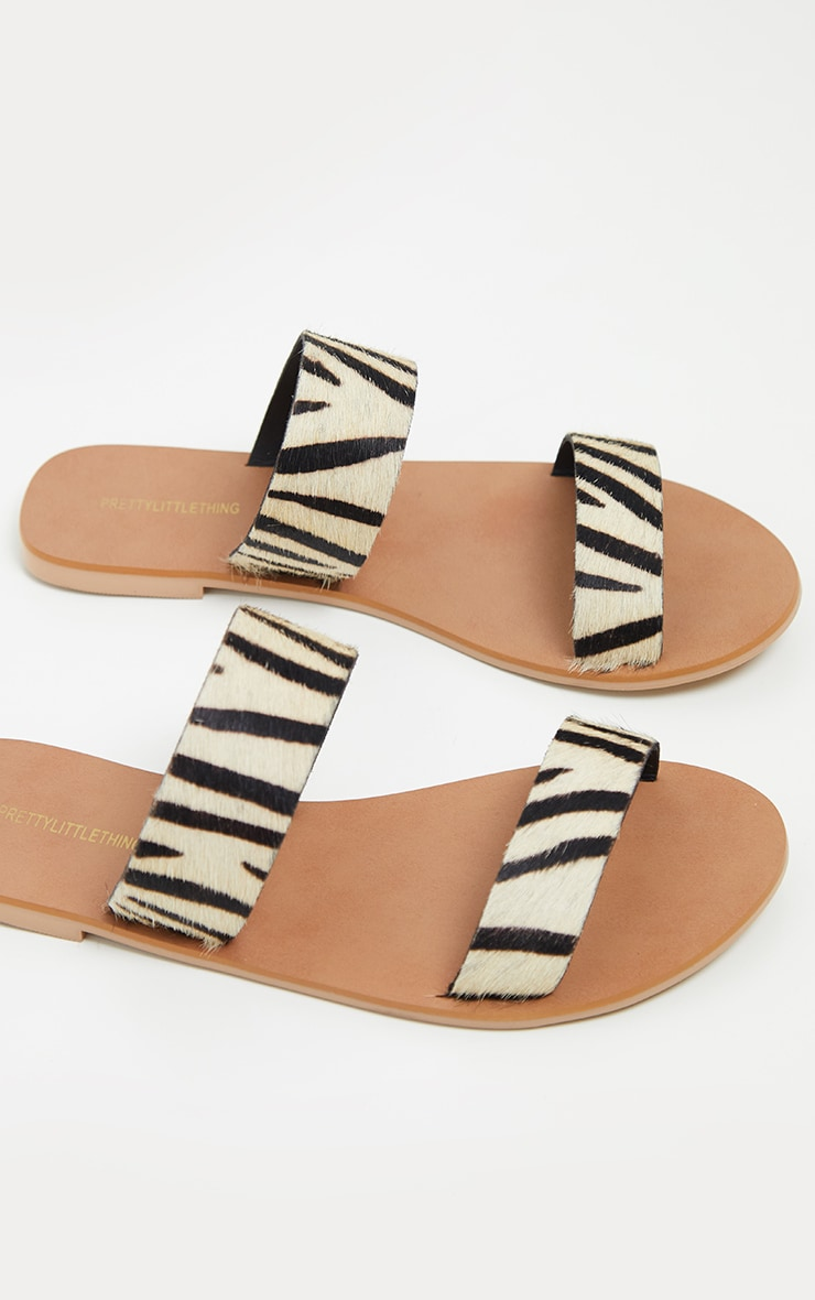 Zebra Twin Strap Basic Leather Sandal 4