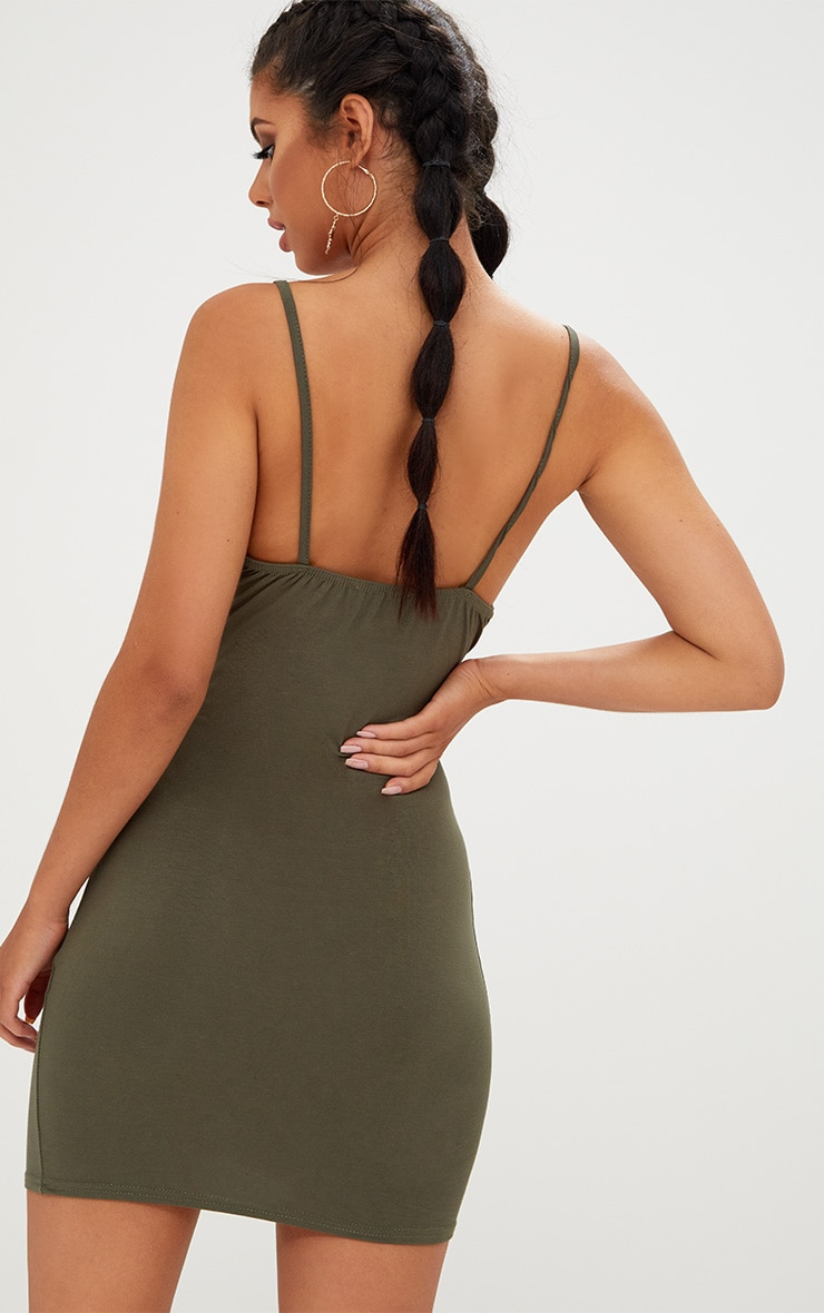 Khaki Strappy Bodycon Dress 3