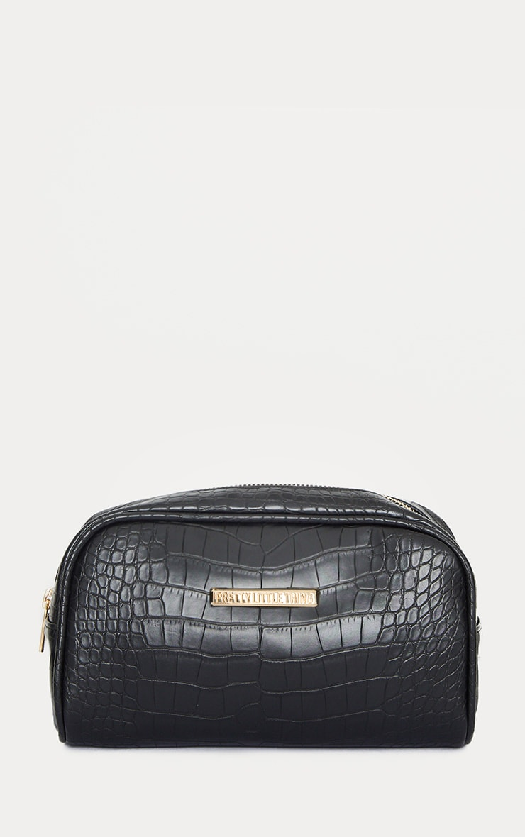 Prettylittlething Black Croc Makeup Bag