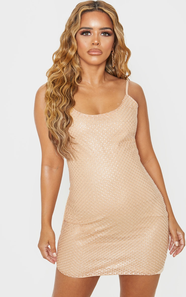 Petite Gold Embellished Mini Dress 1