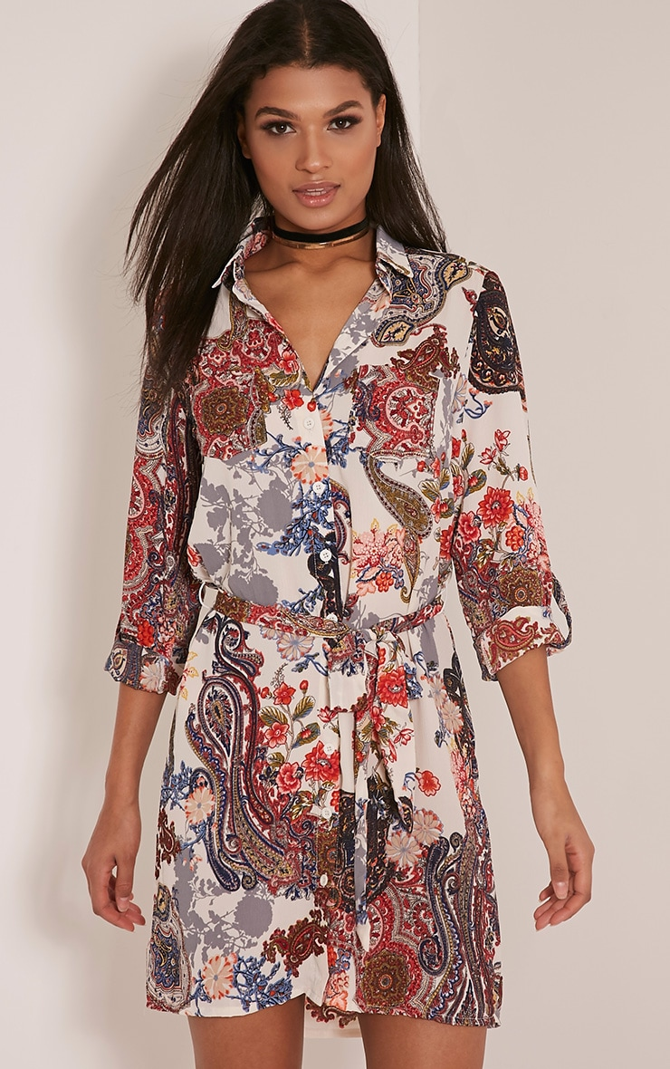 Abagail Cream Paisley Floral Printed Shirt Dress 1