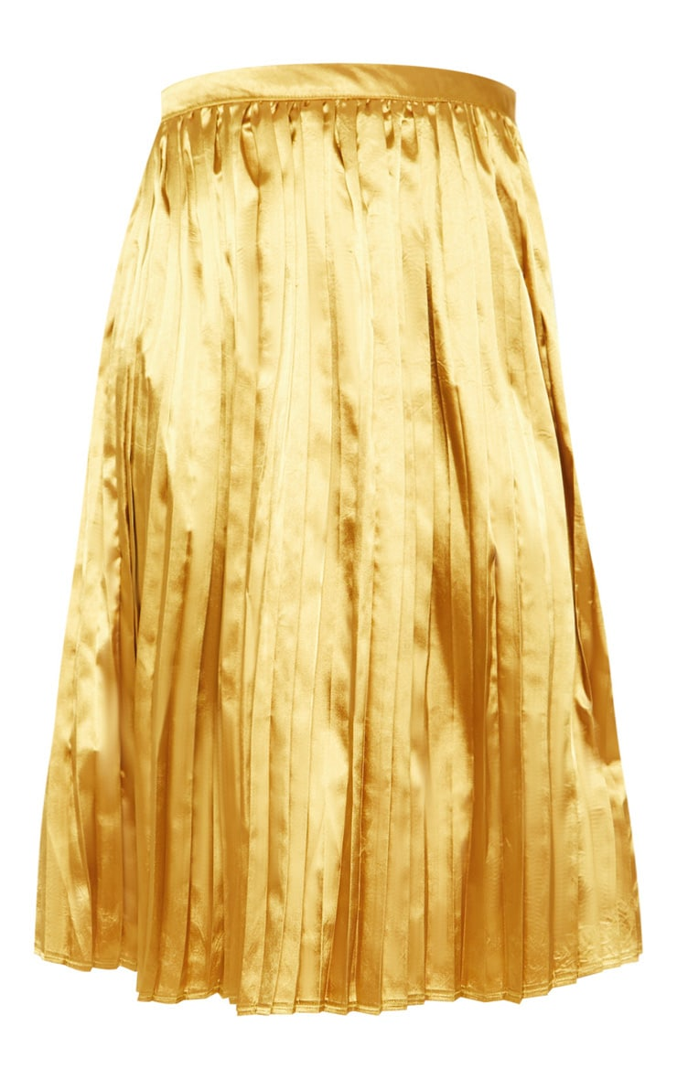 Tall Chartreuse Satin Pleated Midi Skirt  3