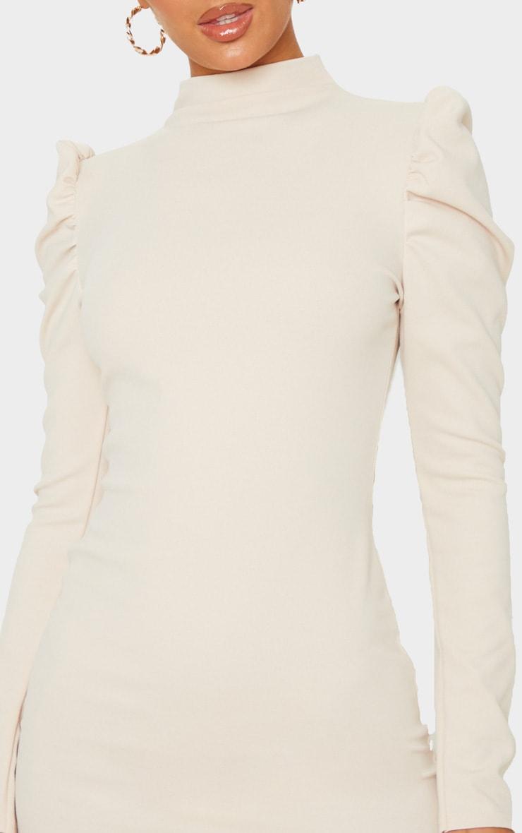 Stone High Neck Puff Shoulder Bodycon Dress 5