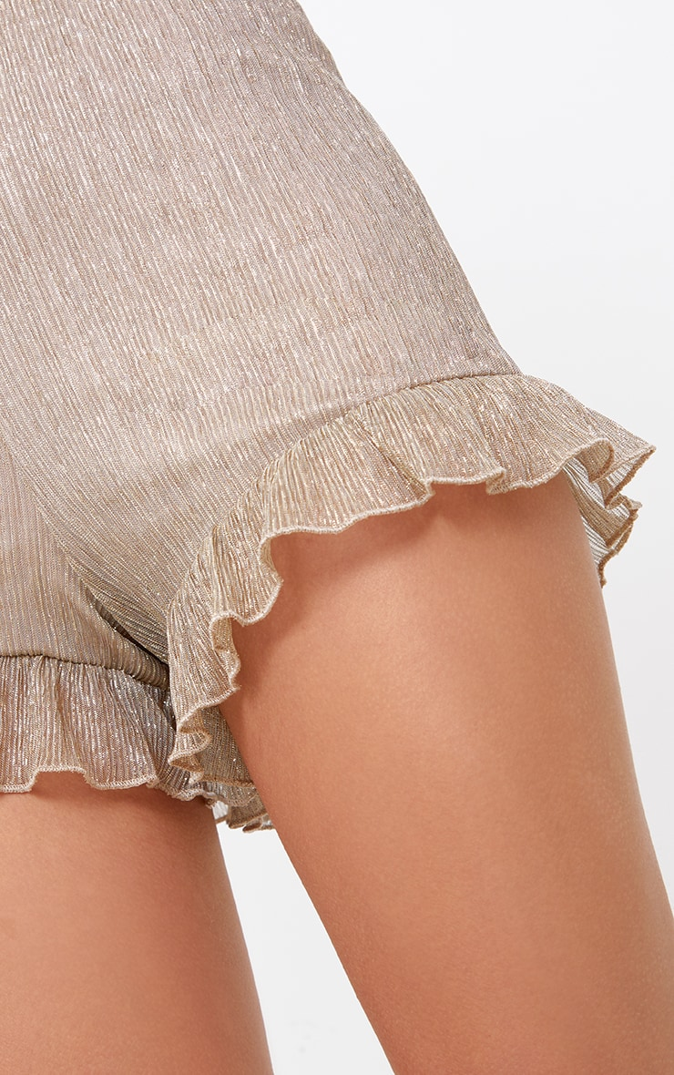Gold Metallic Pleated Frill Hem Shorts 6