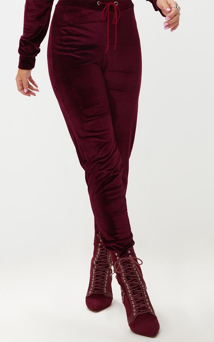Petite Burgundy Sports Stripe Jersey Wide Leg Trousers 5