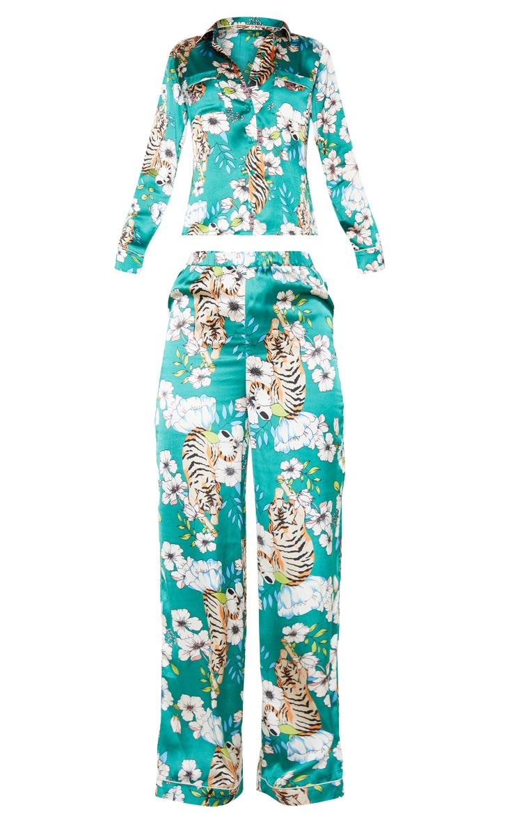 Emerald Tiger Blossom Wide Leg Satin PJ Set 3
