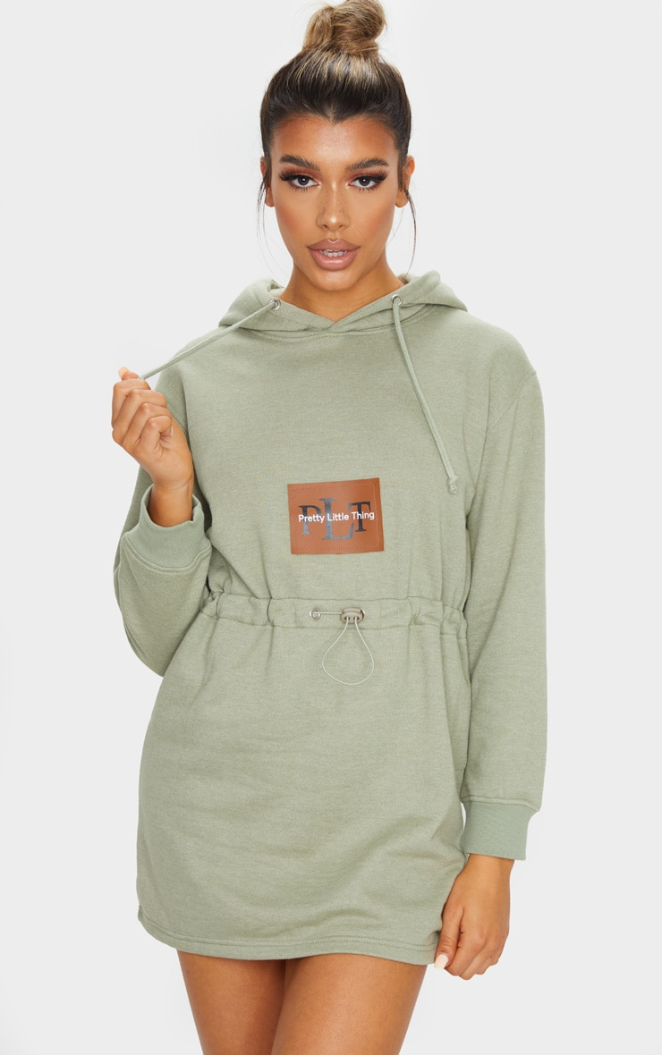 PRETTYLITTLETHING Sage Green Toggle Front Hoodie Sweat Jumper Dress 1