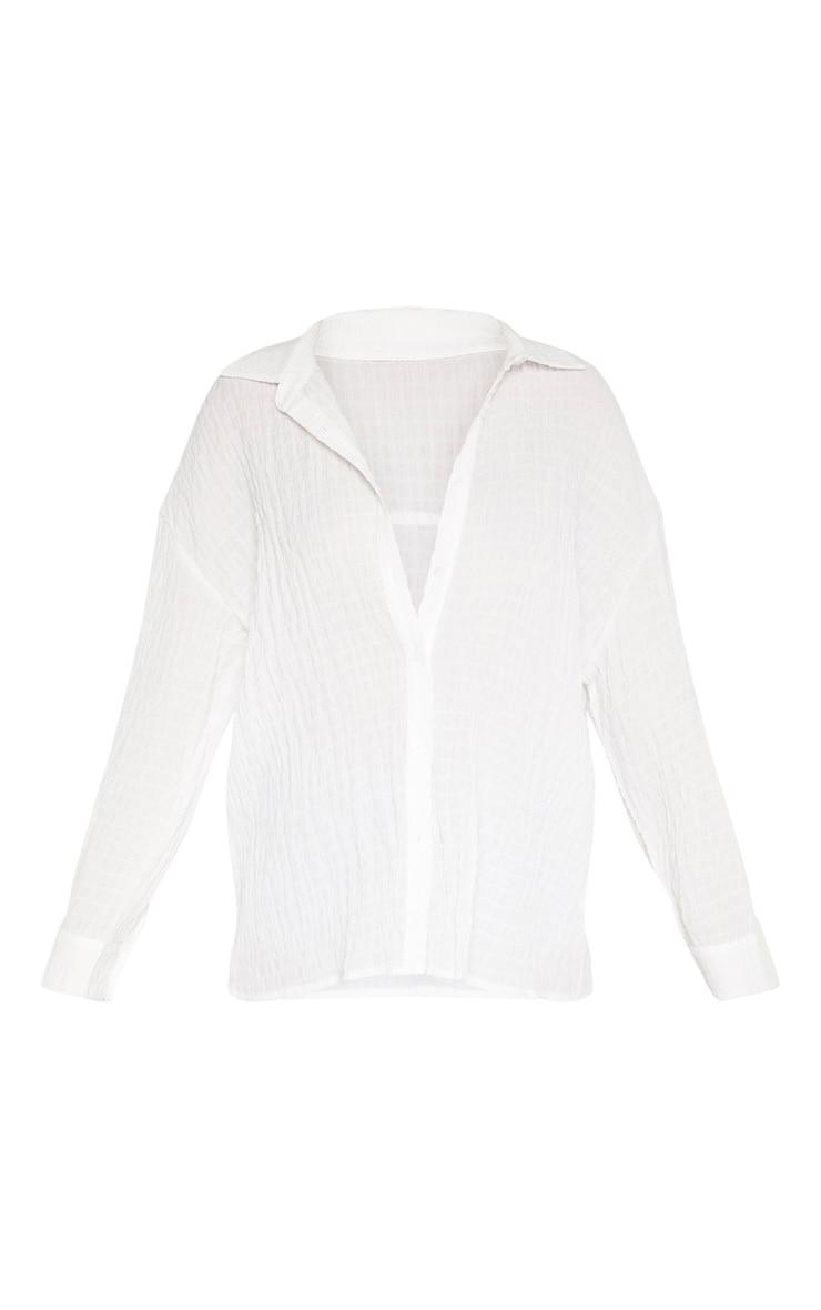 White Shirred Oversized Shirt 3