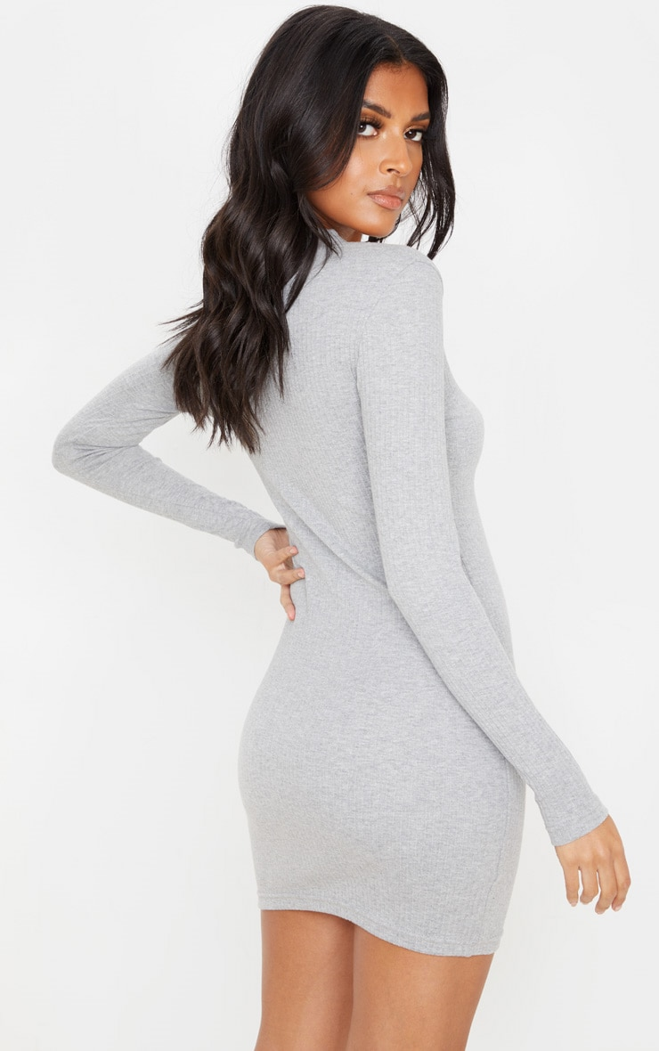 Grey Heavy Rib Popper Neck Long Sleeve Bodycon Dress  2
