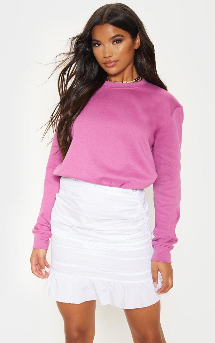 White Woven Ruched Frill Hem Mini Skirt 1