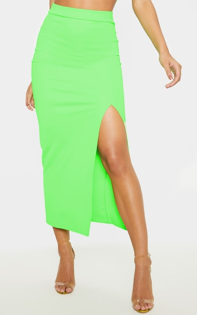 Neon Lime High Stretch Extreme Split Midaxi Skirt