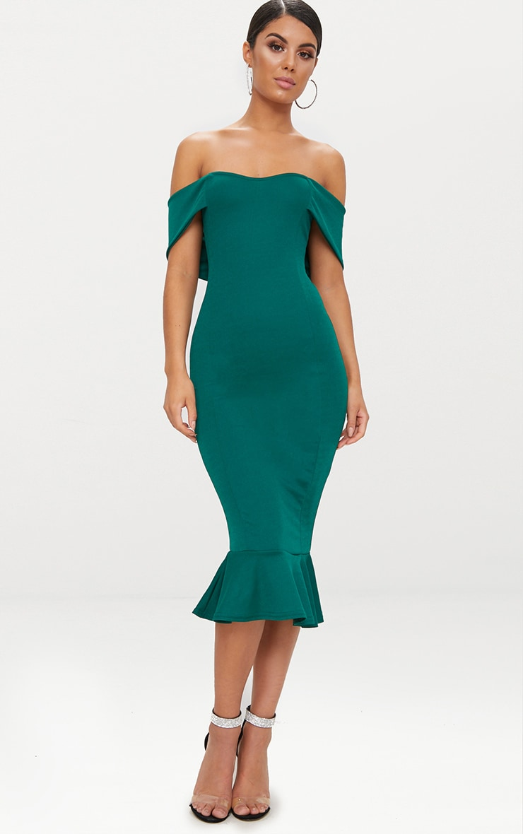Emerald Green Bardot Frill Hem Midi Dress 1