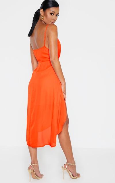 Bright Orange Chiffon Wrap Midi Dress