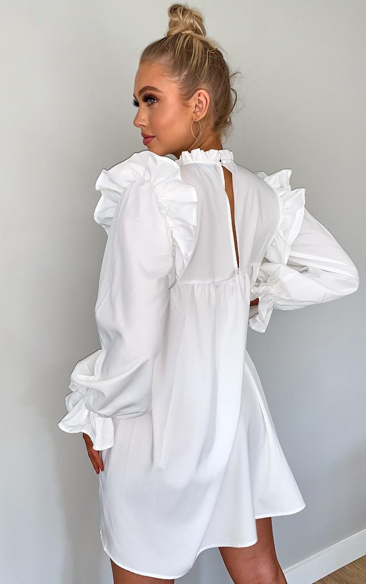 White Ruffle Binding Detail Shirt Dress 2